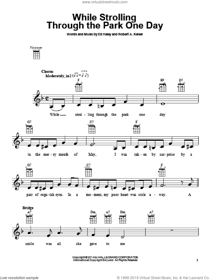 While Strolling Through The Park One Day sheet music for ukulele by Ed Haley. Score Image Preview.