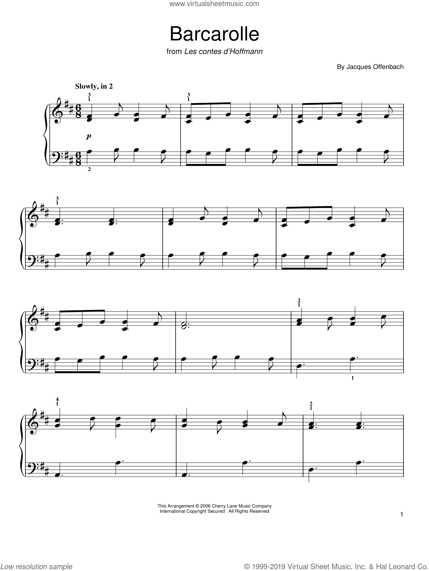 Barcarolle sheet music for piano solo by Jacques Offenbach. Score Image Preview.