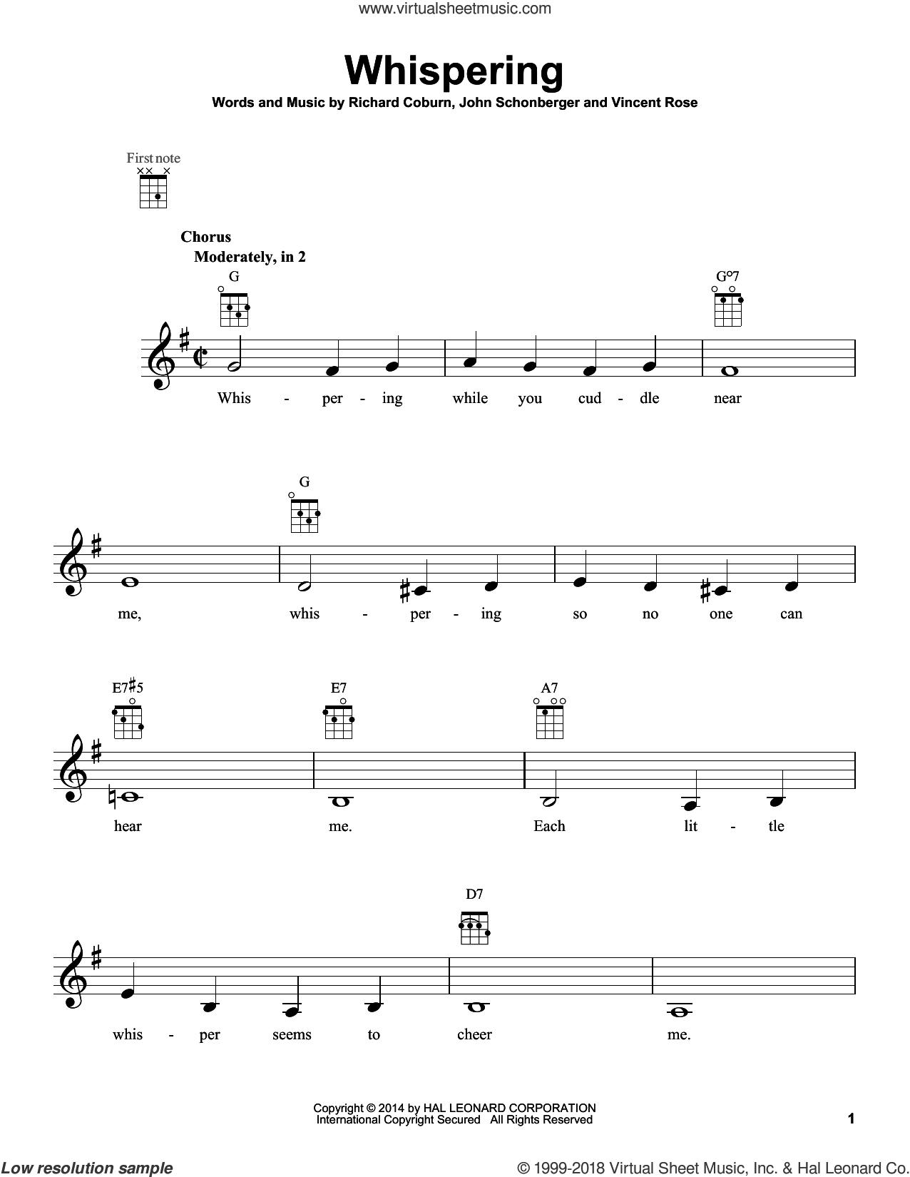 Whispering sheet music for ukulele by John Schonberger, classical score, intermediate skill level