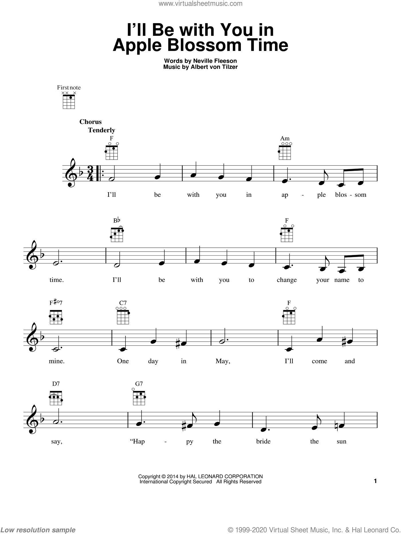 I'll Be With You In Apple Blossom Time sheet music for ukulele by Neville Fleeson. Score Image Preview.