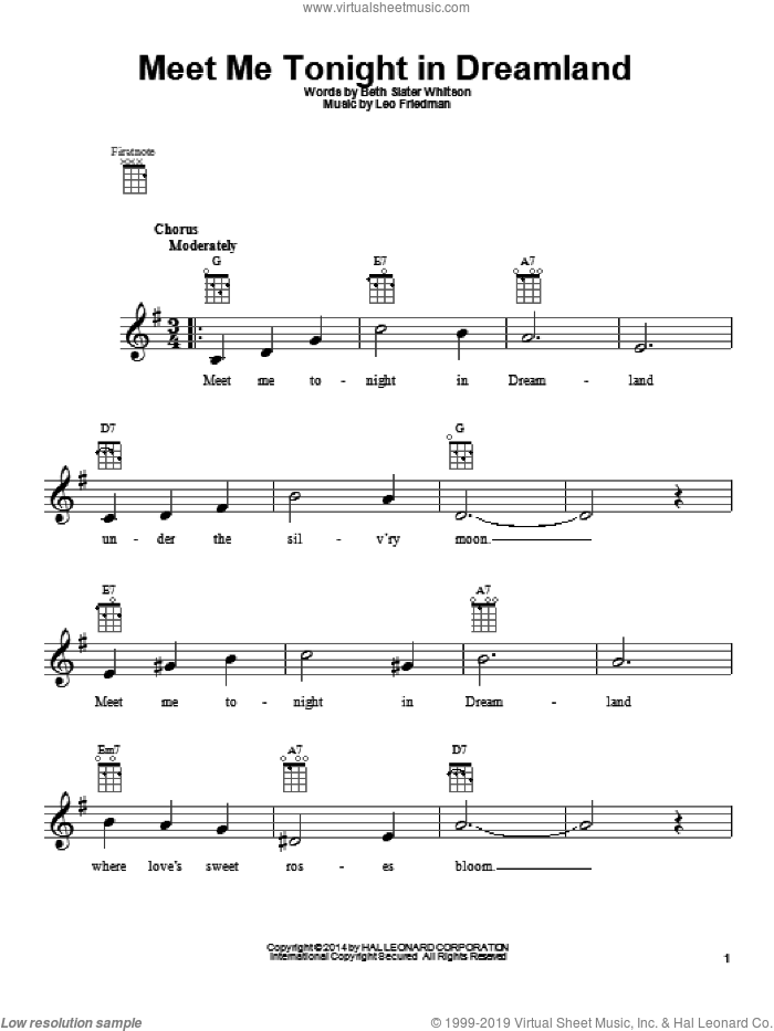 Meet Me Tonight In Dreamland sheet music for ukulele by Leo Friedman and Beth Slater Whitson, intermediate ukulele. Score Image Preview.