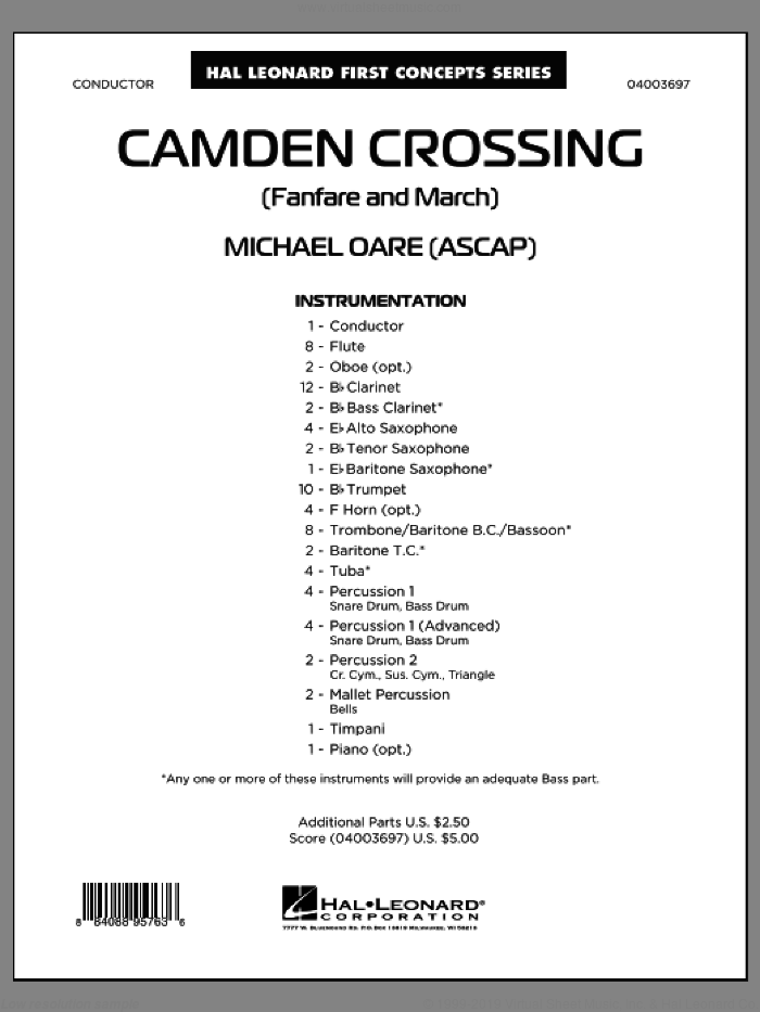 Camden Crossing (Fanfare and March) (COMPLETE) sheet music for concert band by Michael Oare, classical score, intermediate concert band. Score Image Preview.