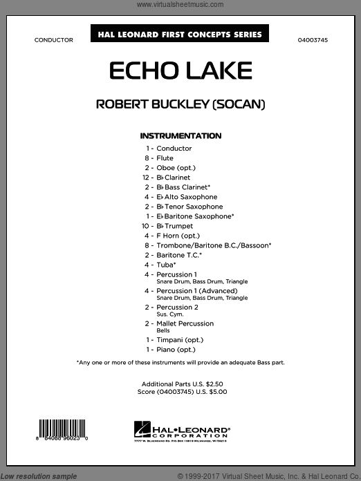 Echo Lake (COMPLETE) sheet music for concert band by Robert Buckley