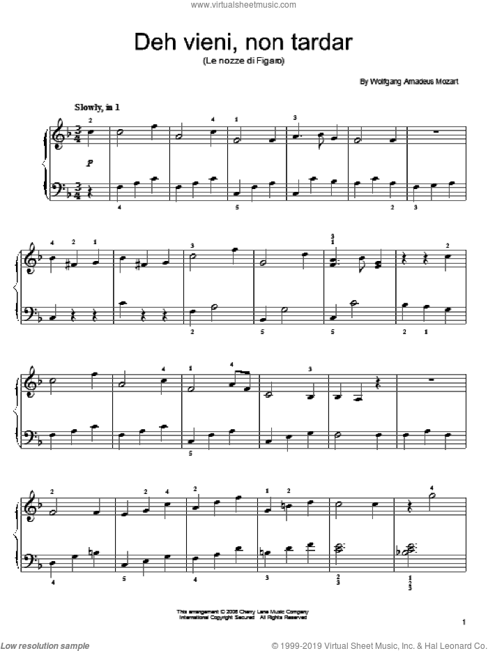 Deh Vieni, Non Tardar sheet music for piano solo by Wolfgang Amadeus Mozart, classical score, easy skill level