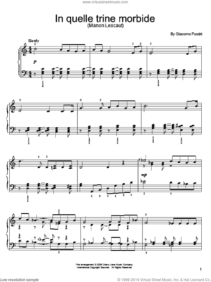 In Quelle Trine Morbide sheet music for piano solo by Giacomo Puccini. Score Image Preview.