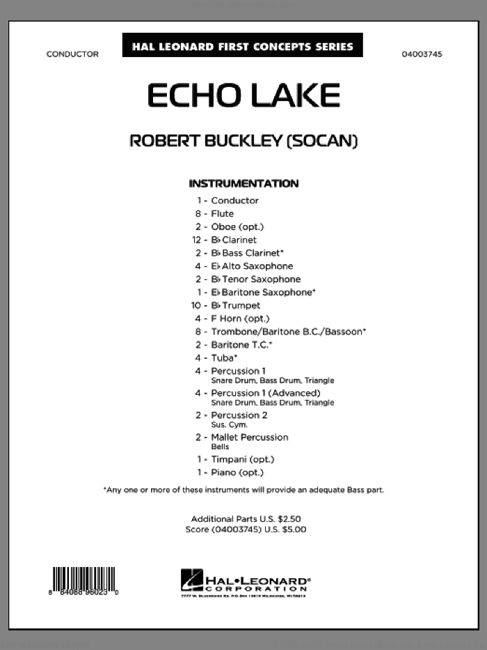 Echo Lake (COMPLETE) sheet music for concert band by Robert Buckley, classical score, intermediate. Score Image Preview.