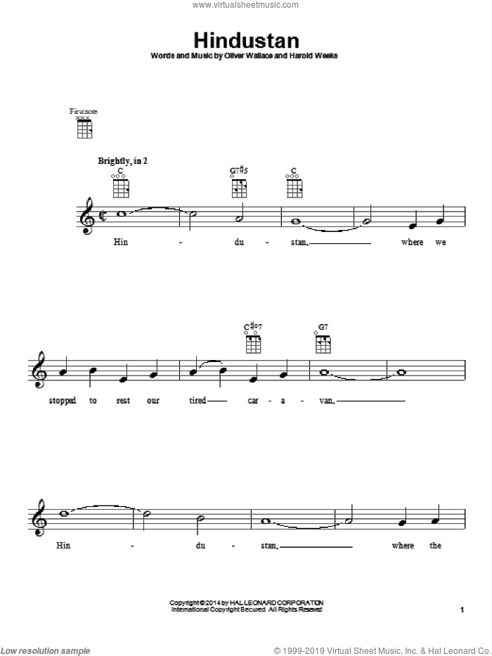 Hindustan sheet music for ukulele by Oliver Wallace, intermediate. Score Image Preview.