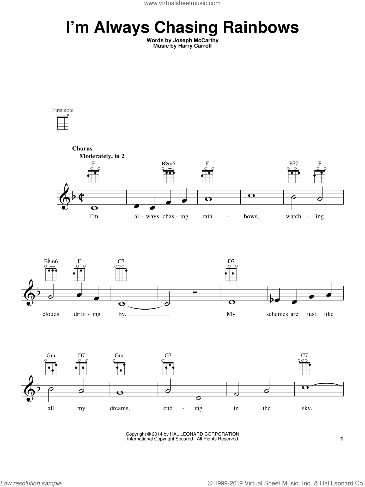 I'm Always Chasing Rainbows sheet music for ukulele by Harry Carroll and Joseph McCarthy, intermediate