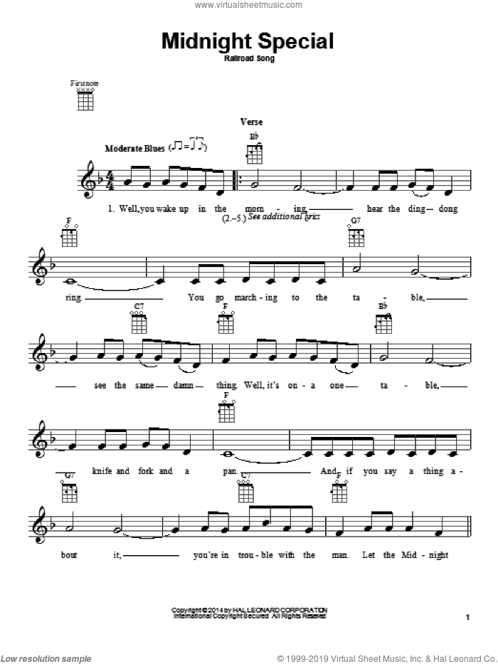 Midnight Special sheet music for ukulele. Score Image Preview.