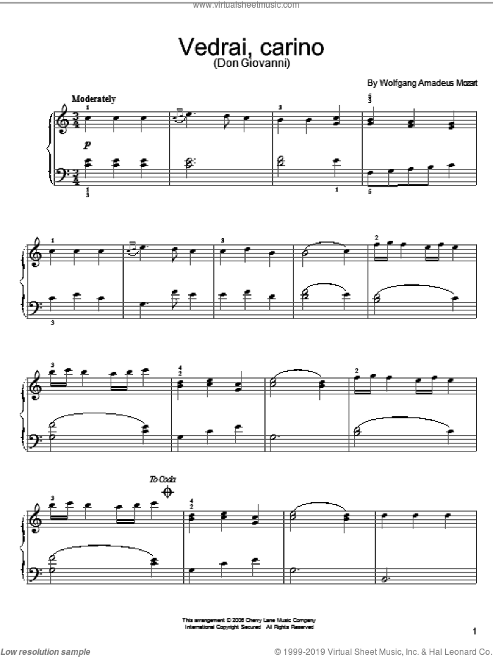 Vedrai, Carino sheet music for piano solo by Wolfgang Amadeus Mozart, classical score, easy skill level