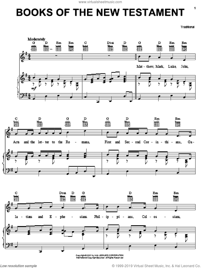 Books Of The New Testament sheet music for voice, piano or guitar, intermediate skill level
