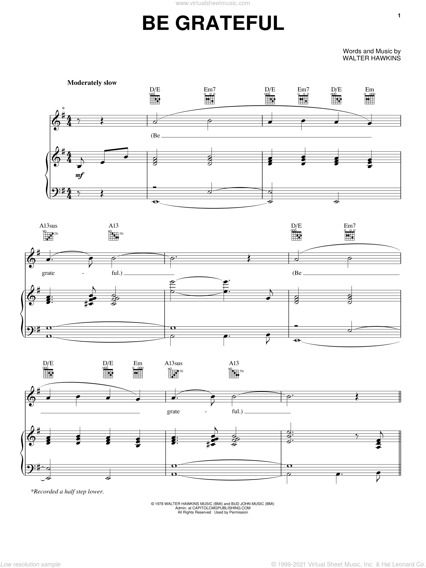 Be Grateful sheet music for voice, piano or guitar by Walter Hawkins, intermediate skill level