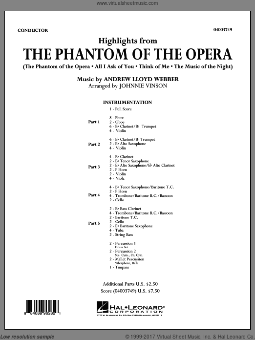 Highlights from The Phantom of the Opera (COMPLETE) sheet music for concert band by Johnnie Vinson