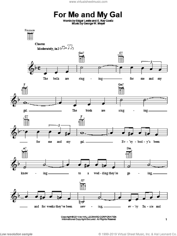 For Me And My Gal sheet music for ukulele by George W. Meyer. Score Image Preview.
