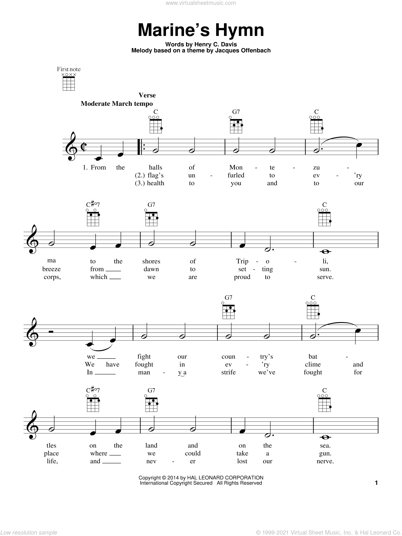 Marine's Hymn sheet music for ukulele by Jacques Offenbach. Score Image Preview.