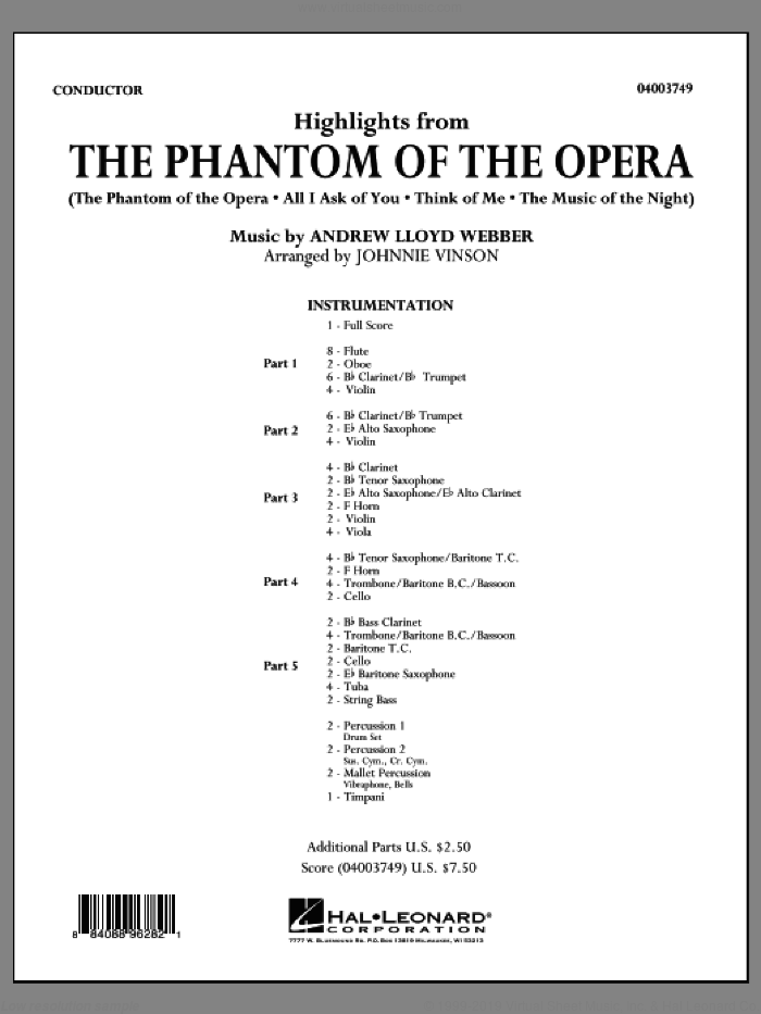 Highlights from The Phantom of the Opera (COMPLETE) sheet music for concert band by Andrew Lloyd Webber and Johnnie Vinson, intermediate skill level