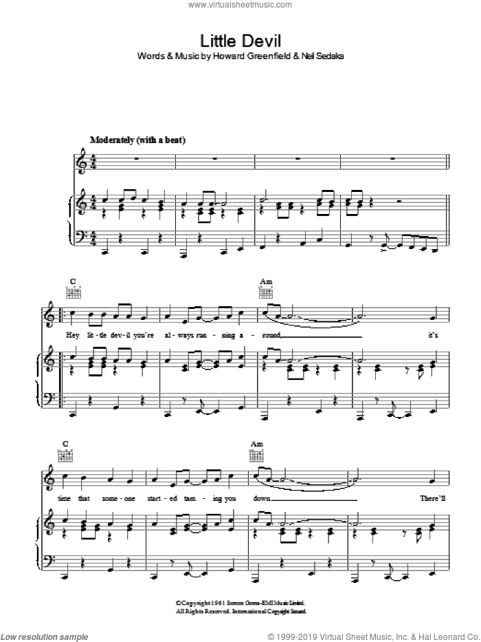 Little Devil sheet music for voice, piano or guitar by Howard Greenfield and Neil Sedaka. Score Image Preview.