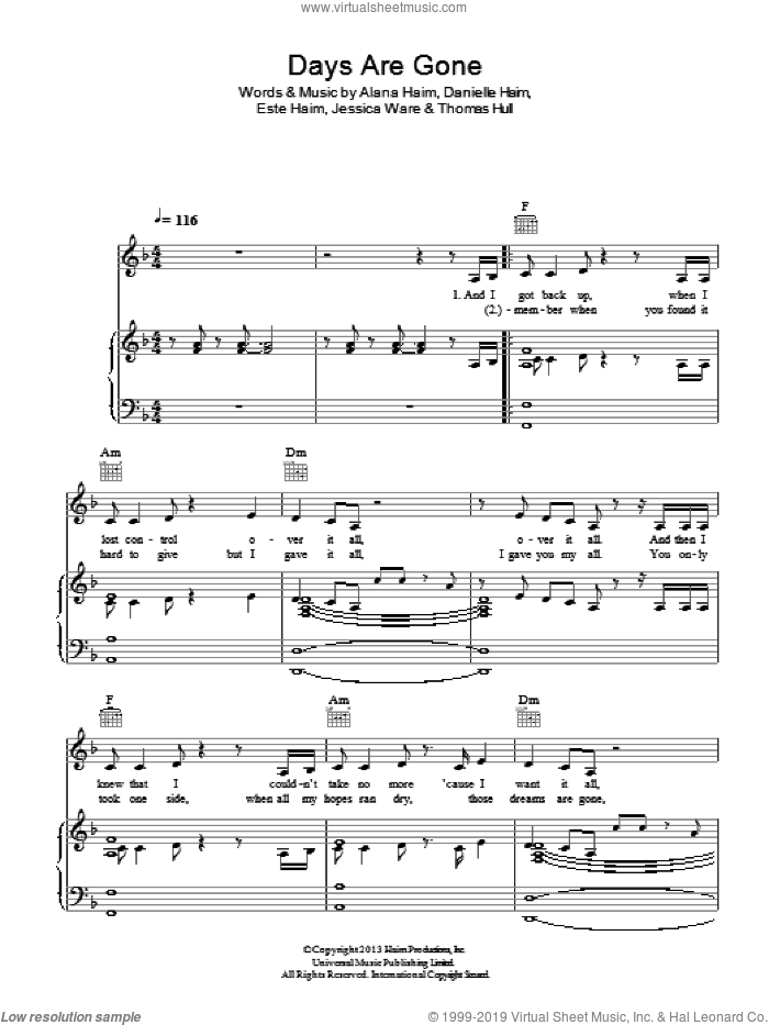 Days Are Gone sheet music for voice, piano or guitar by Haim, Alana Haim, Danielle Haim, Este Haim, Jessica Ware and Tom Hull, intermediate skill level