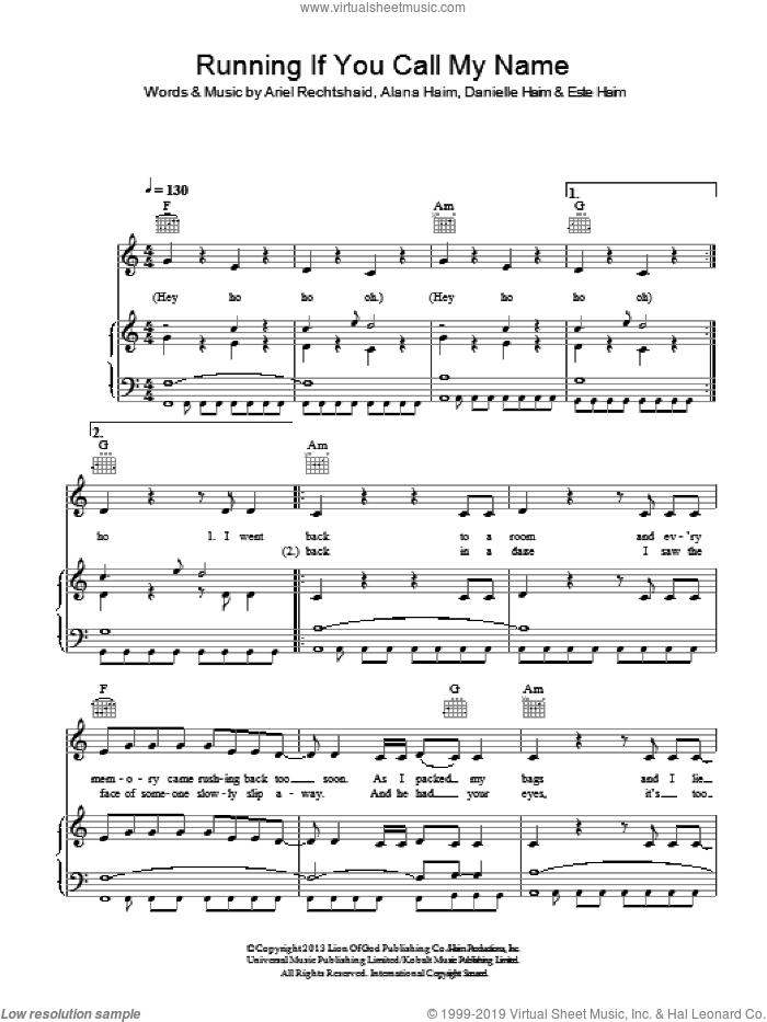 Running If You Call My Name sheet music for voice, piano or guitar by Haim, Alana Haim, Ariel Rechtshaid, Danielle Haim and Este Haim, intermediate skill level