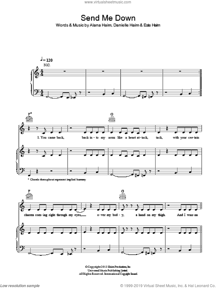 Send Me Down sheet music for voice, piano or guitar by Haim, intermediate. Score Image Preview.