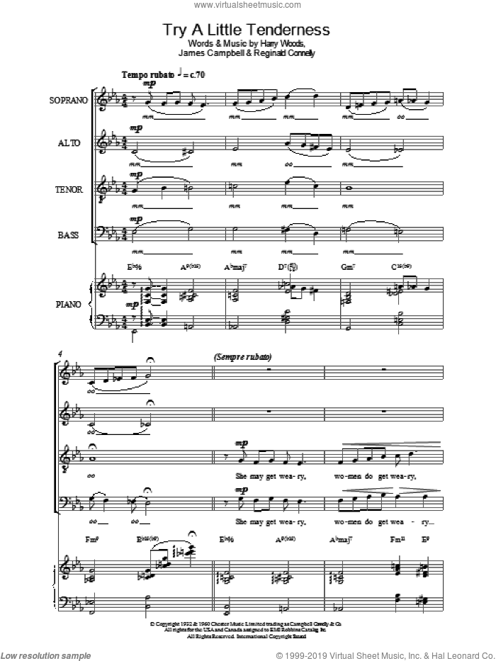 Try A Little Tenderness sheet music for choir by Otis Redding, Harry Woods, James Campbell and Reg Connelly, intermediate