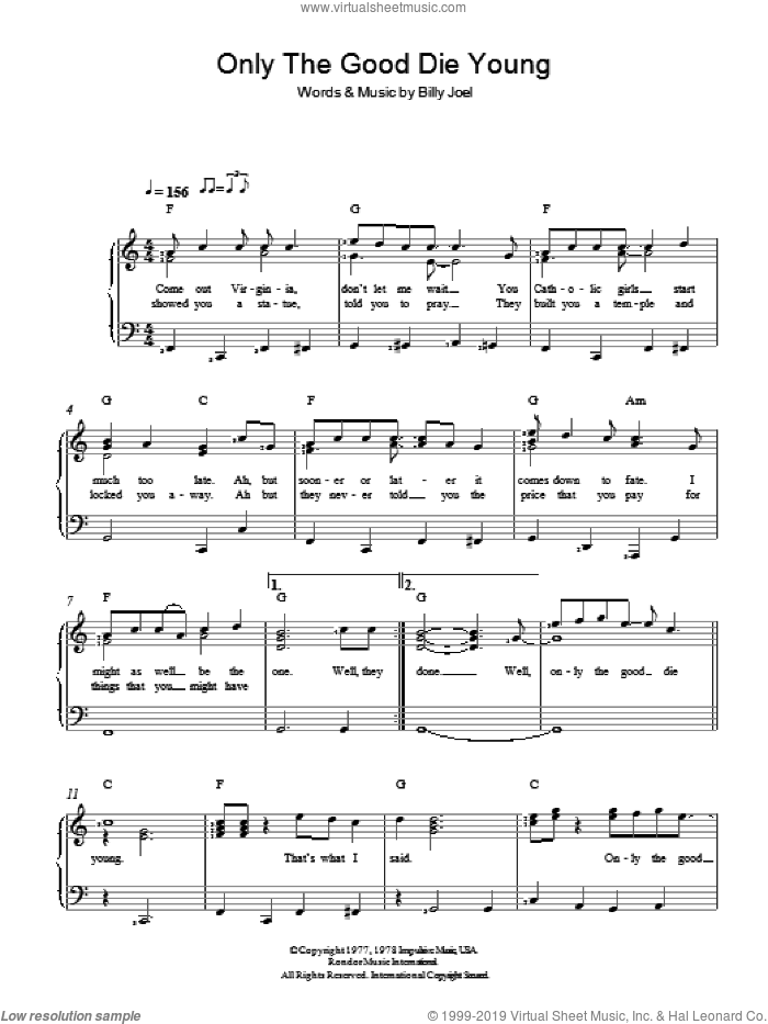 Only The Good Die Young sheet music for voice and piano by Billy Joel, intermediate