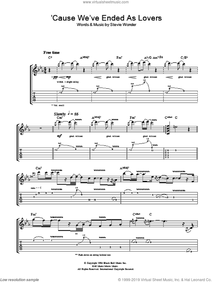 'Cause We've Ended As Lovers sheet music for guitar (tablature) by Jeff Beck. Score Image Preview.