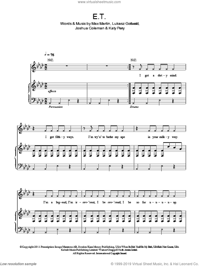 E.T. sheet music for voice, piano or guitar by Katy Perry, Joshua Coleman, Lukasz Gottwald and Max Martin, intermediate skill level