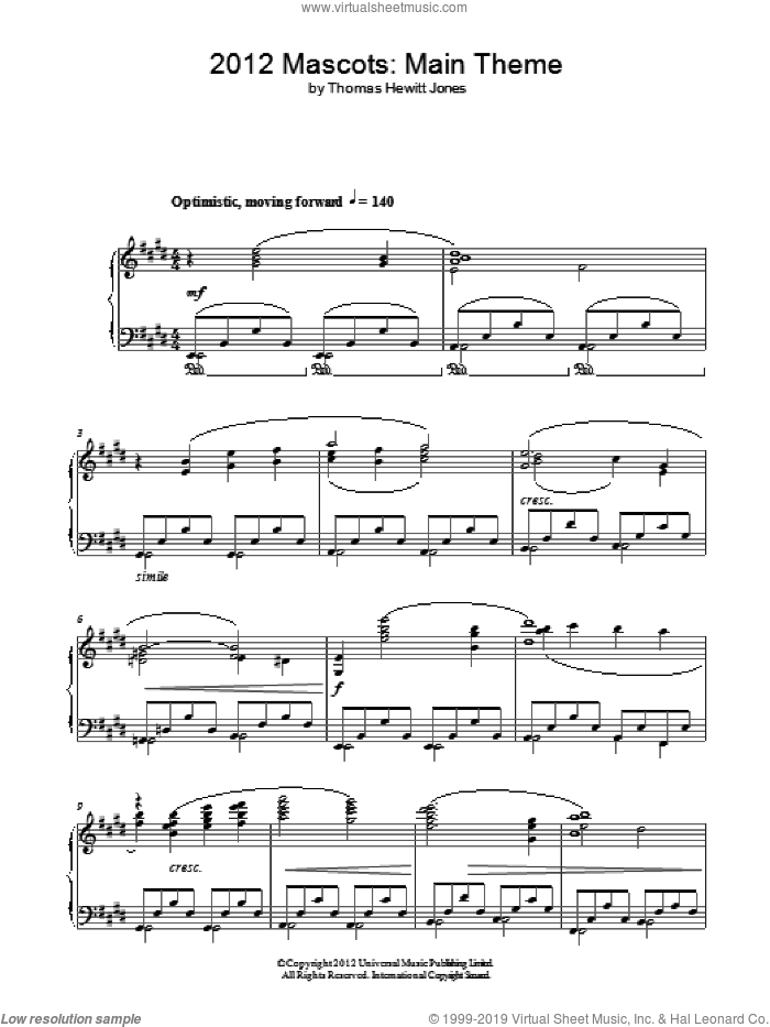 Official Mascot's Theme sheet music for piano solo by Thomas Hewitt Jones, intermediate skill level