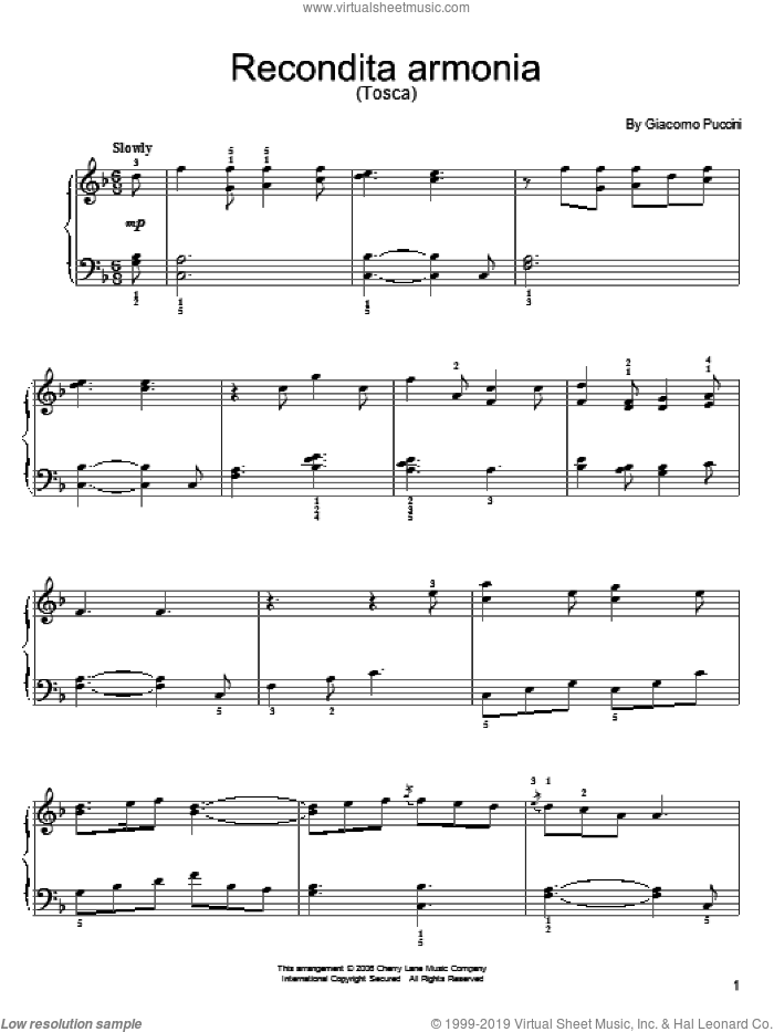 Recondita Armonia sheet music for piano solo by Giacomo Puccini, classical score, easy skill level