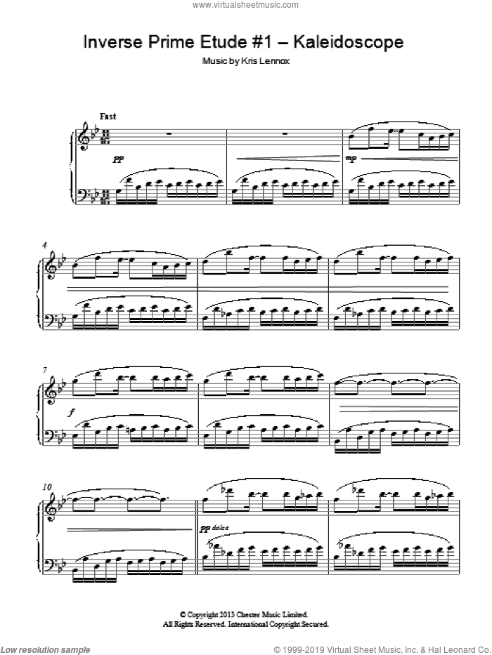 Inverse Prime Etude #1 - Kaleidoscope sheet music for piano solo by Kris Lennox, classical score, intermediate skill level