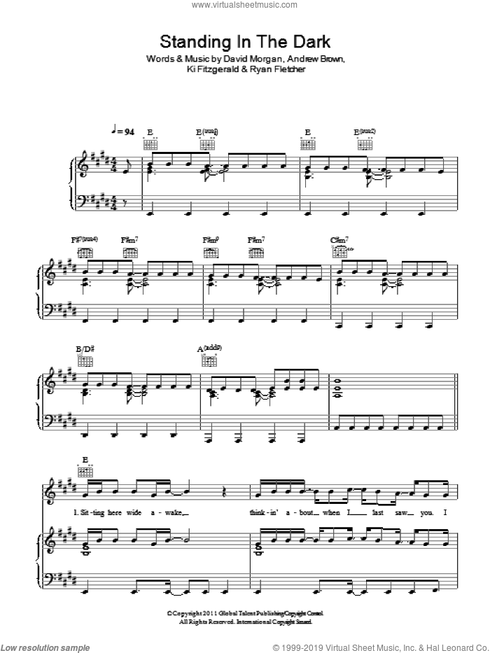 Standing In The Dark sheet music for voice, piano or guitar by LAWSON, Andrew Brown, David Morgan, Ki Fitzgerald and Ryan Fletcher, intermediate skill level