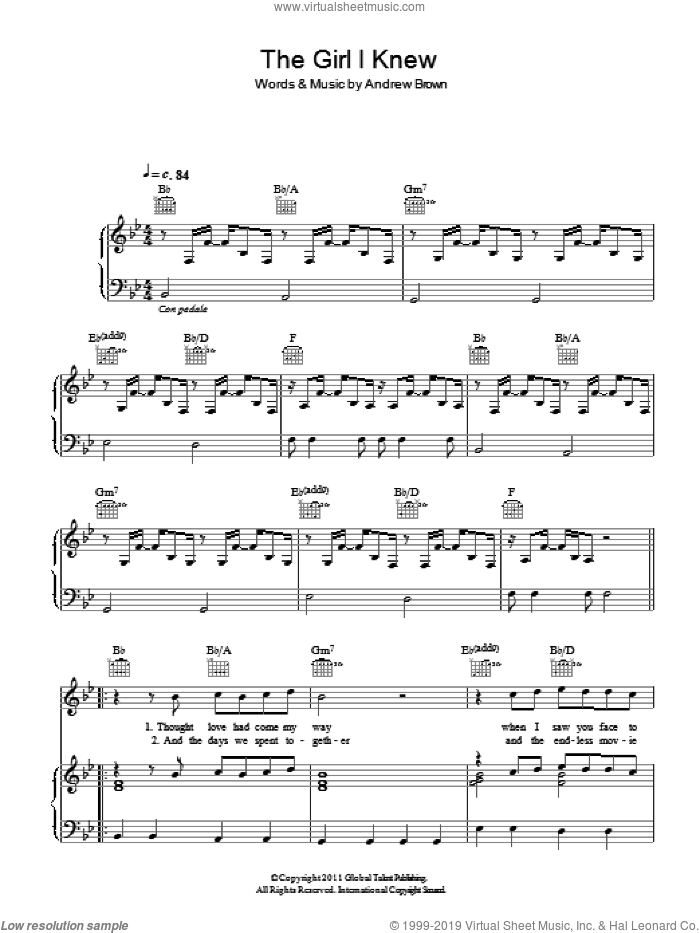 The Girl I Knew sheet music for voice, piano or guitar by Andrew Brown, intermediate skill level