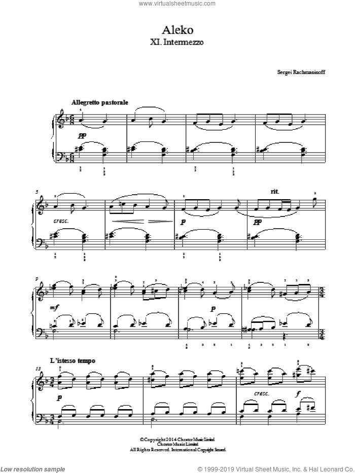 Aleko - No.11 Intermezzo sheet music for piano solo by Serjeij Rachmaninoff, classical score, easy skill level