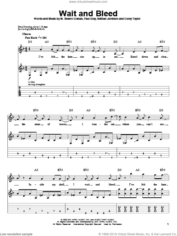 Wait And Bleed sheet music for guitar (tablature, play-along) by Paul Gray, Slipknot and Corey Taylor