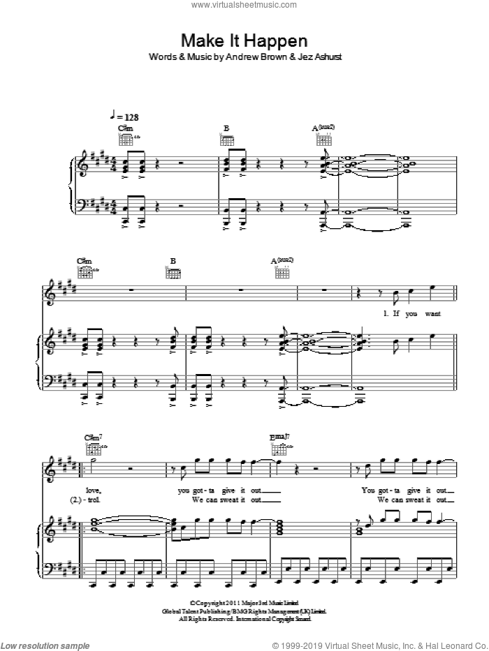 Make It Happen sheet music for voice, piano or guitar by LAWSON, Andrew Brown and Jez Ashurst, intermediate skill level