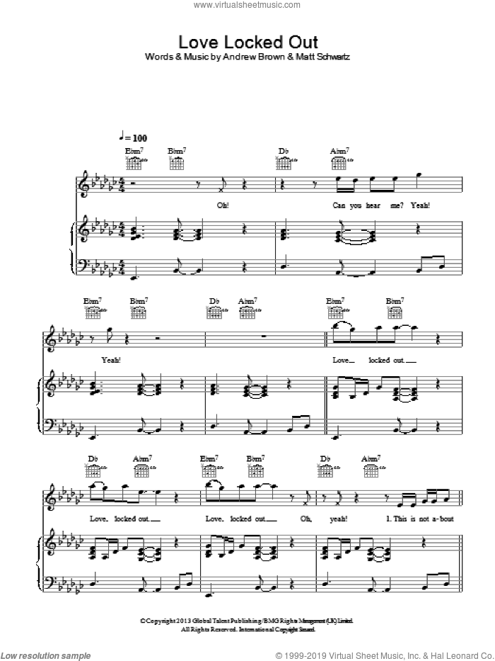 Love Locked Out sheet music for voice, piano or guitar by LAWSON, Andrew Brown and Matt Schwartz, intermediate skill level