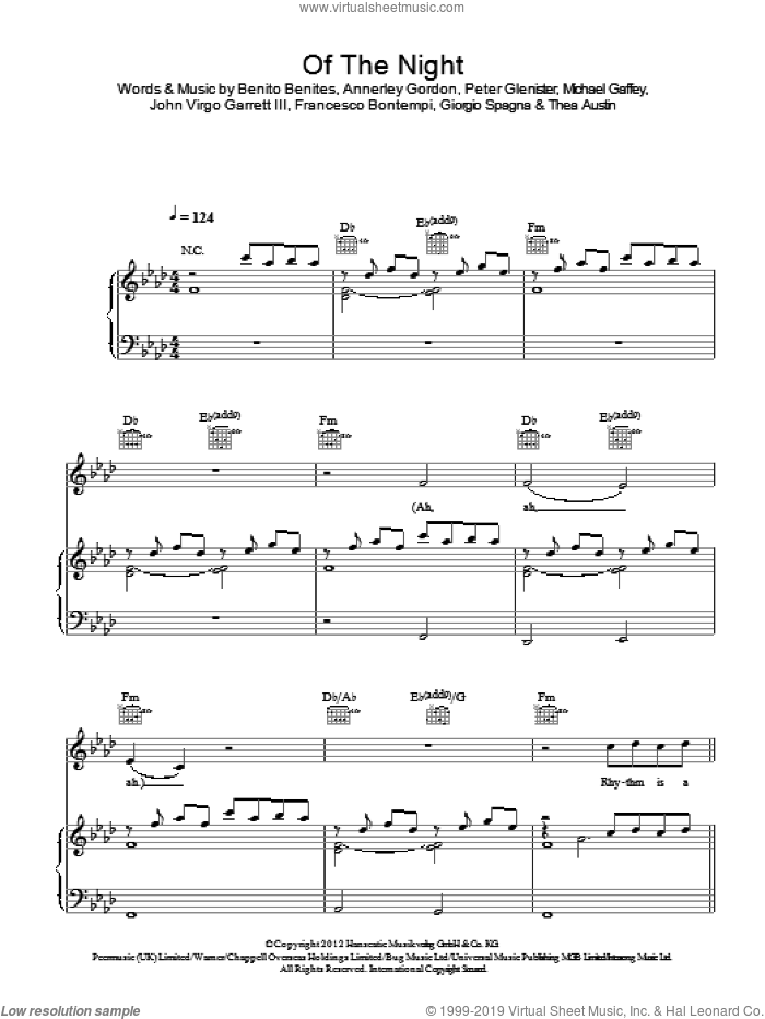 Of The Night sheet music for voice, piano or guitar by Bastille, Annerley Gordon, Benito Benites, Francesco Bontempi, Giorgio Spagna, John Virgo Garrett III, Michael Gaffey, Peter Glenister and Thea Austin, intermediate skill level