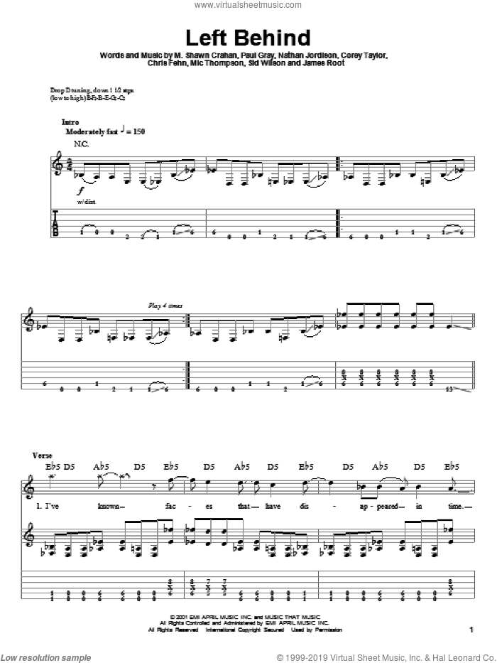 Left Behind sheet music for guitar (tablature, play-along) by Slipknot. Score Image Preview.