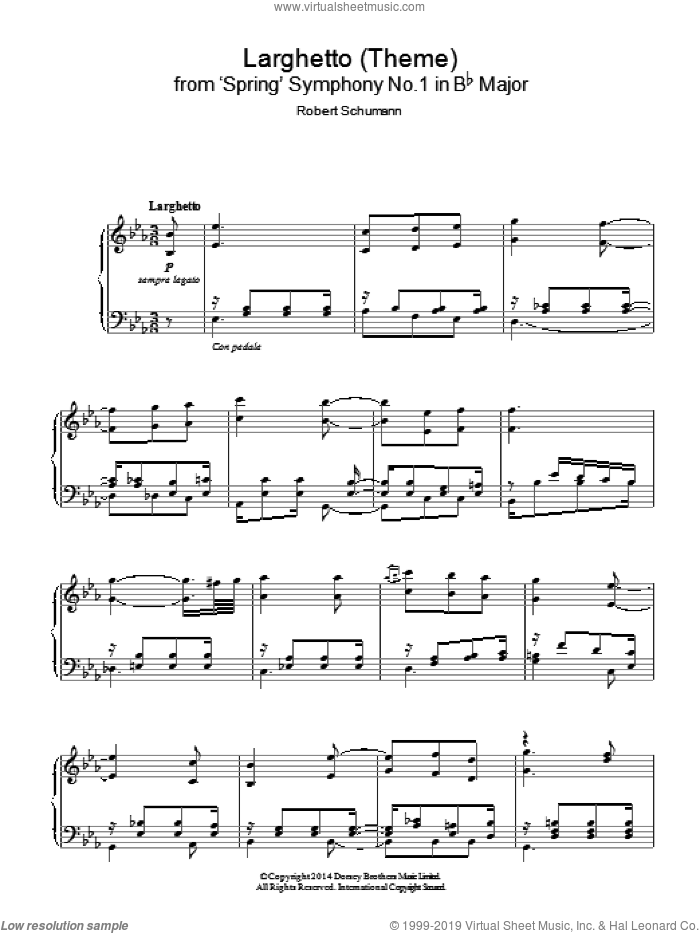 Larghetto (Theme) from 'Spring' Symphony No.1 in Bb Major sheet music for piano solo by Robert Schumann. Score Image Preview.