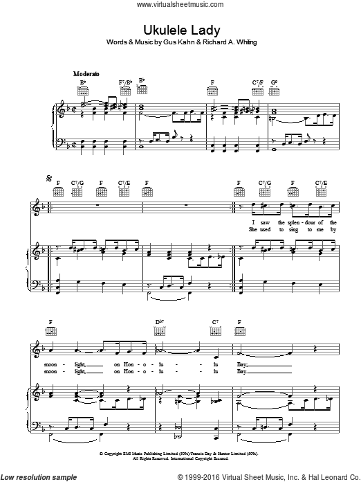 Ukulele Lady sheet music for voice, piano or guitar by Gus Kahn and Richard A. Whiting. Score Image Preview.