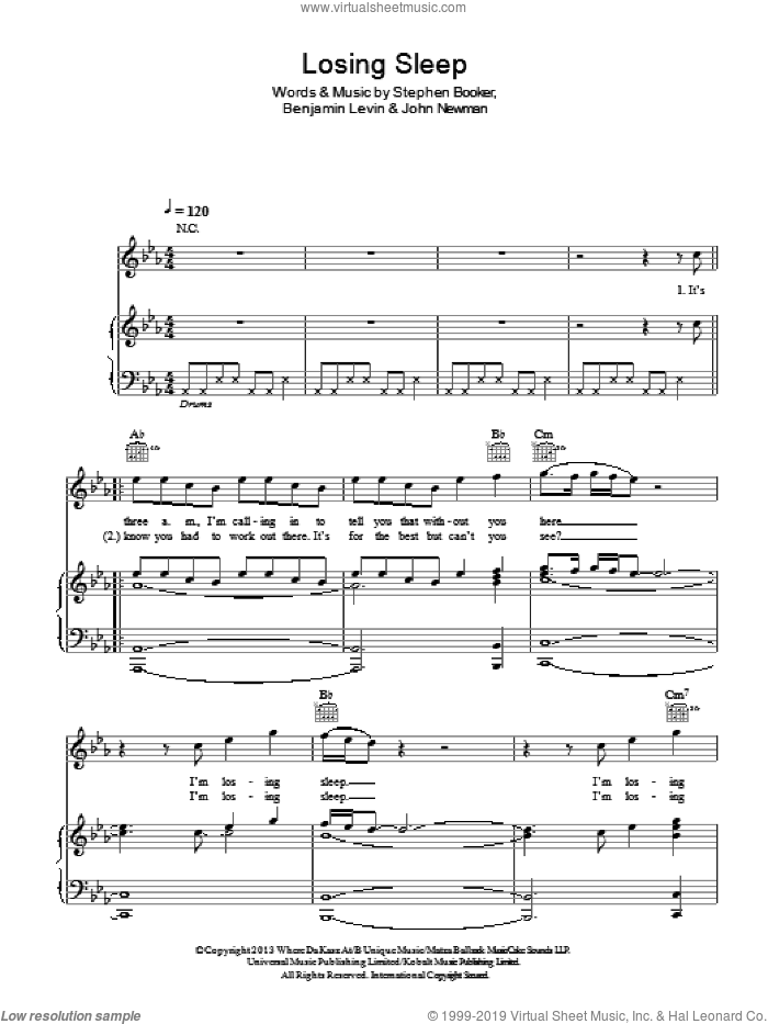 Losing Sleep sheet music for voice, piano or guitar by John Newman, Benjamin Levin and Steve Booker, intermediate voice, piano or guitar. Score Image Preview.