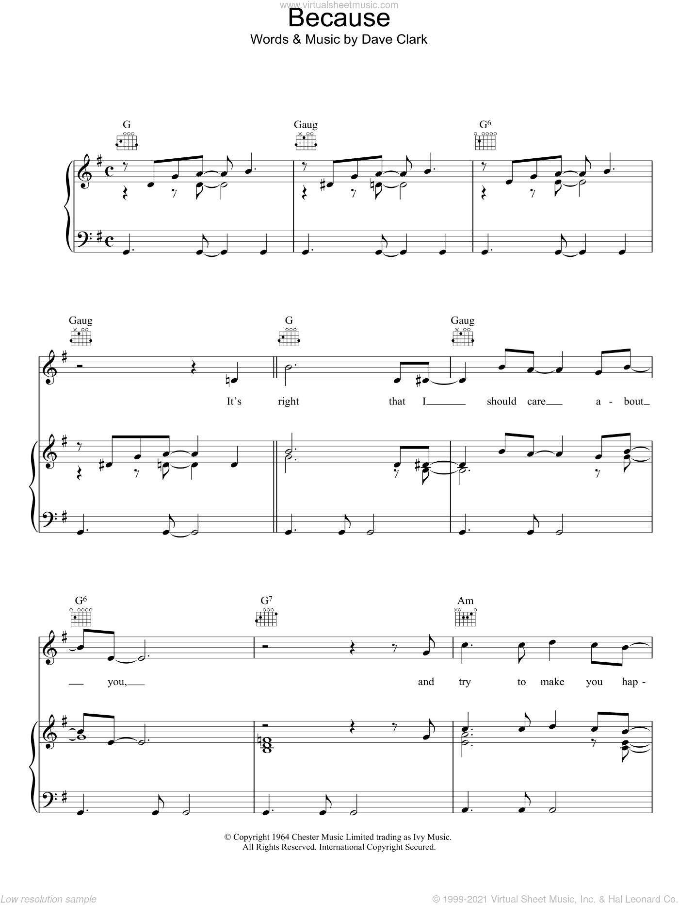 Because sheet music for voice, piano or guitar by The Dave Clark Five and Dave Clark, intermediate skill level