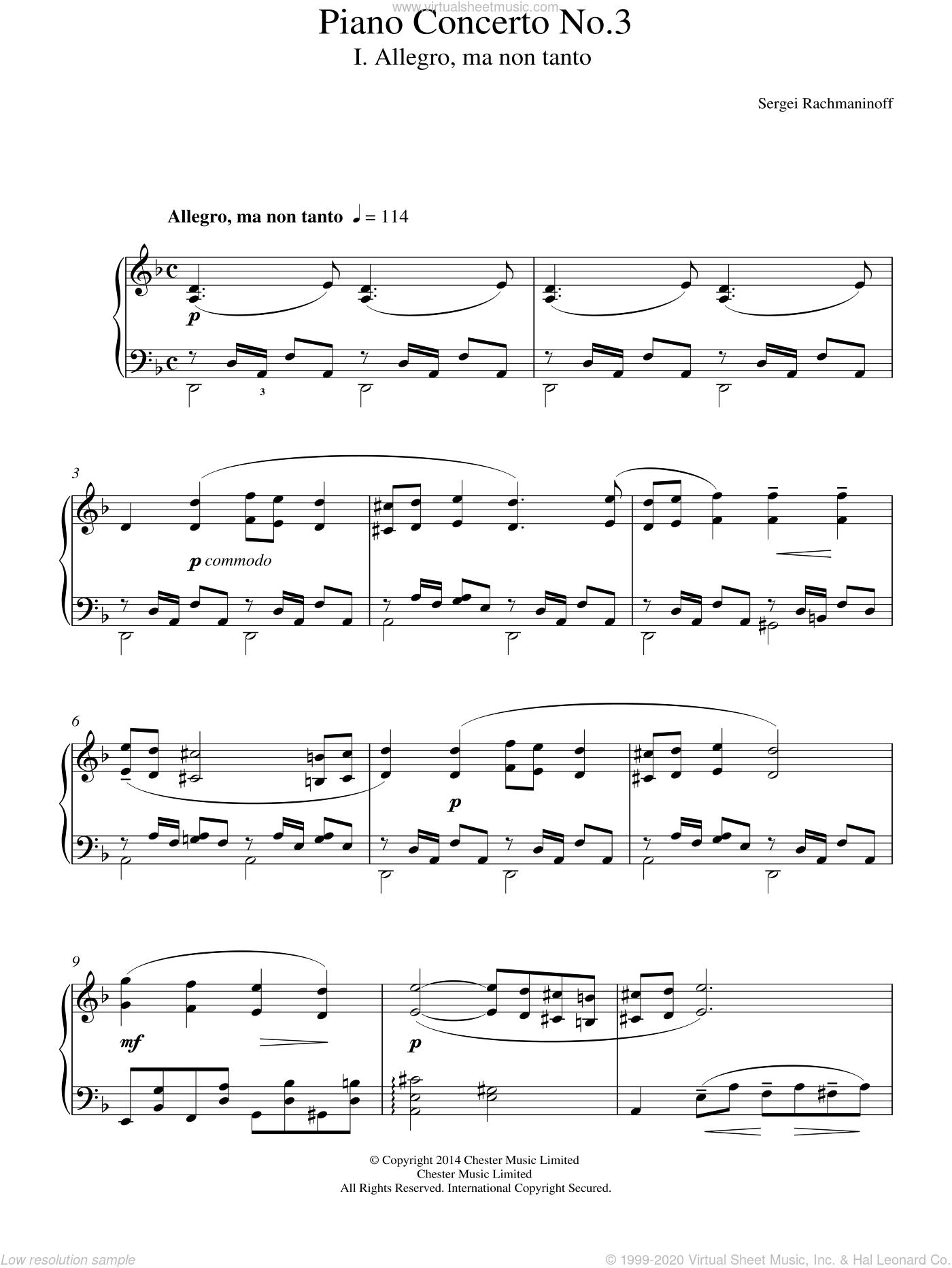 Piano Concerto No.3 - 1st Movement sheet music for piano solo by Serjeij Rachmaninoff, classical score, intermediate skill level