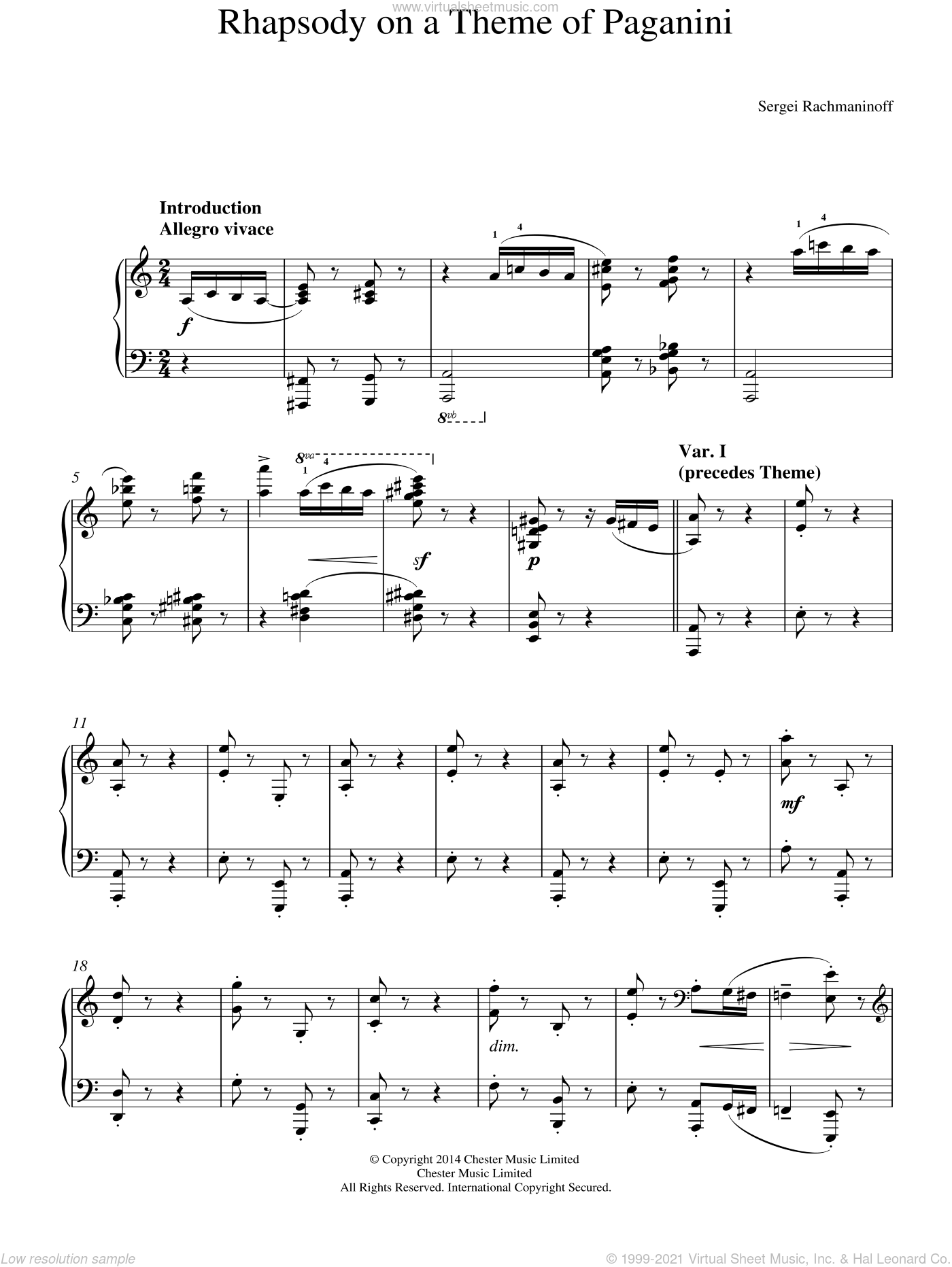 Rhapsody on a Theme of Paganini sheet music for piano solo by Serjeij Rachmaninoff, classical score, intermediate piano. Score Image Preview.
