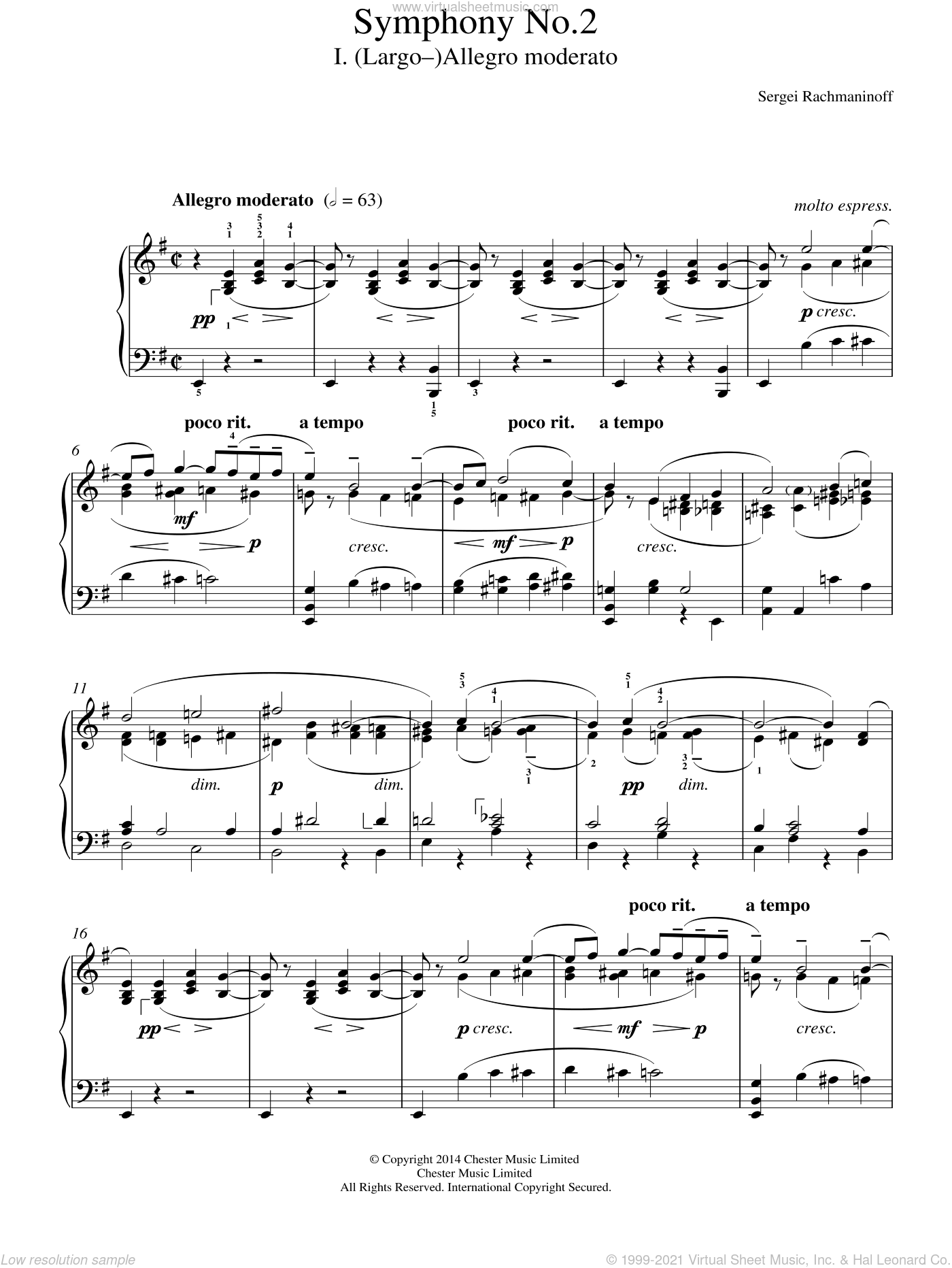Symphony No.2 - 1st Movement sheet music for piano solo by Serjeij Rachmaninoff, classical score, intermediate skill level