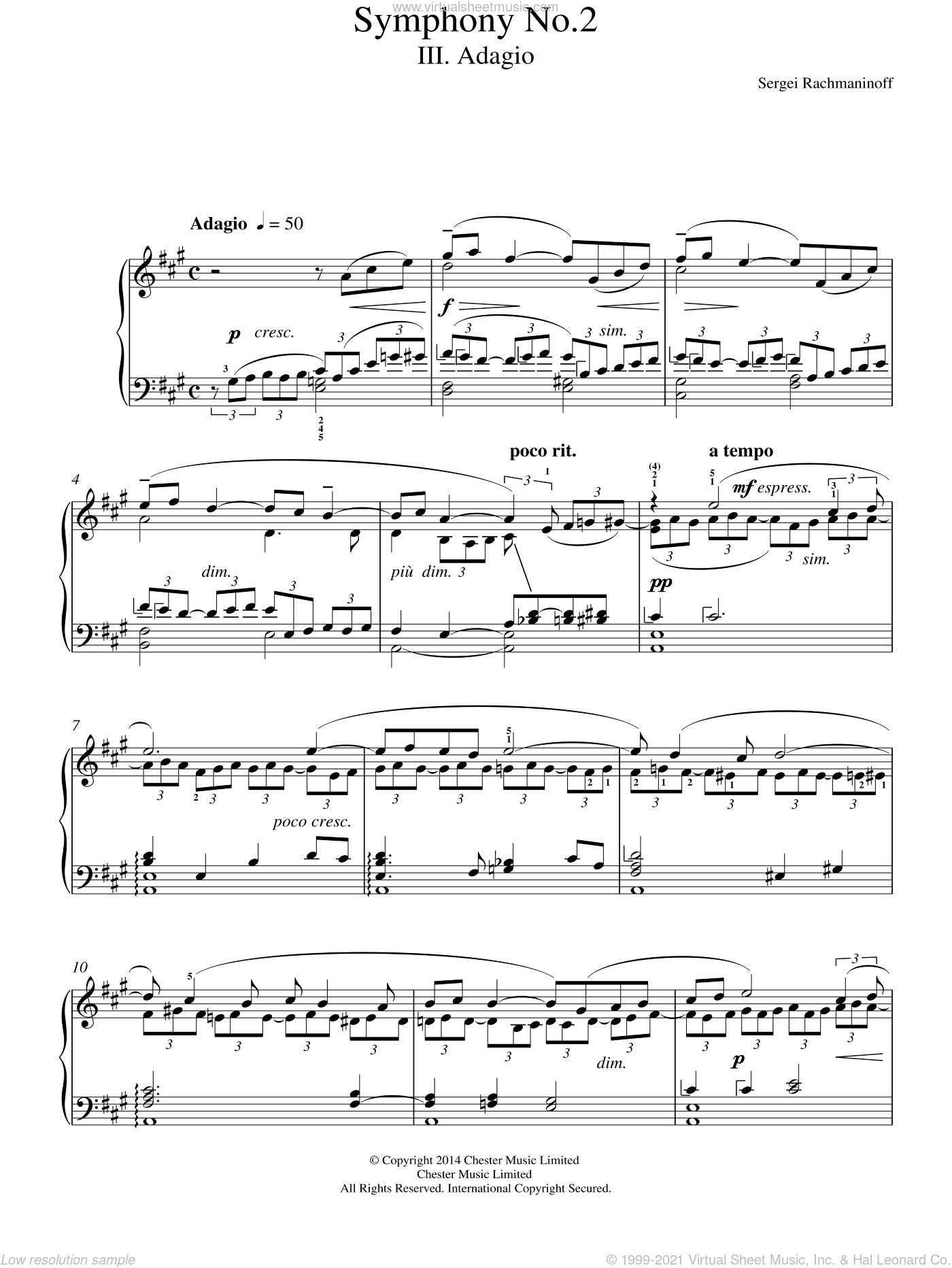 Symphony No.2 - 3rd Movement sheet music for piano solo by Serjeij Rachmaninoff, classical score, intermediate