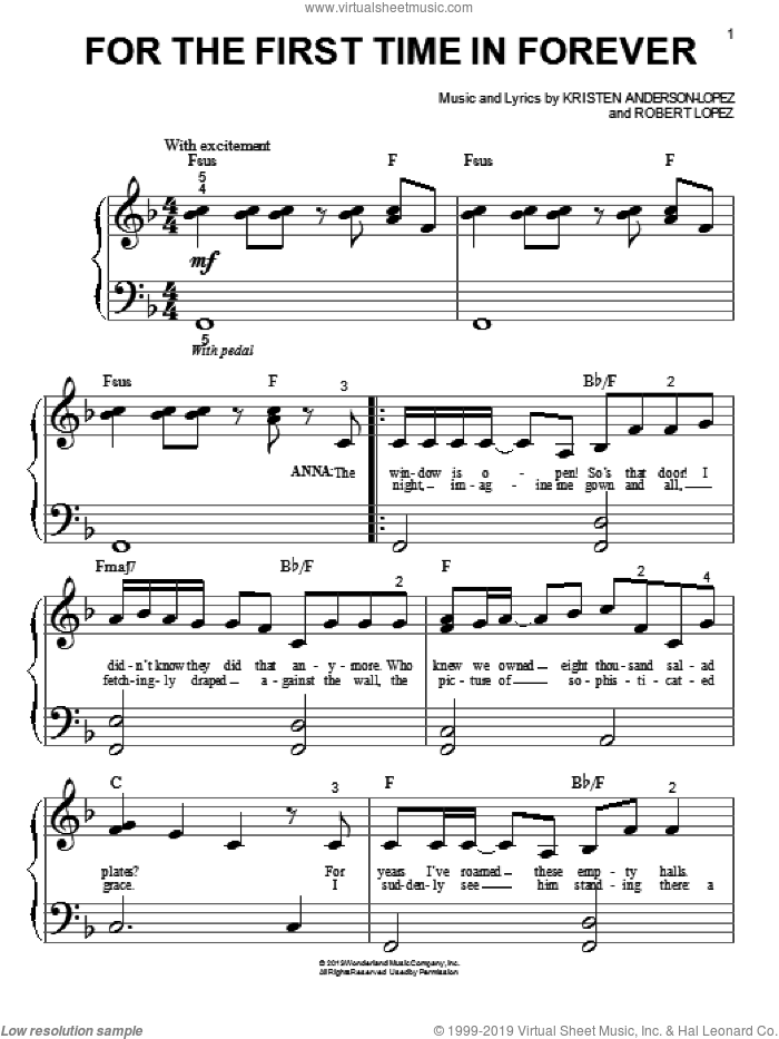 For The First Time In Forever sheet music for piano solo (big note book) by Kristen Bell, Idina Menzel, Kristen Anderson-Lopez and Robert Lopez. Score Image Preview.