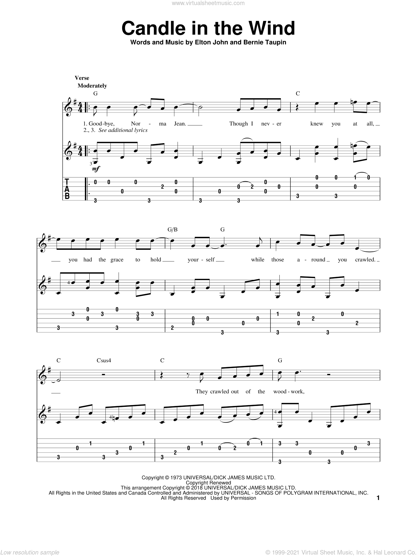 Candle In The Wind sheet music for guitar solo by Elton John, intermediate skill level
