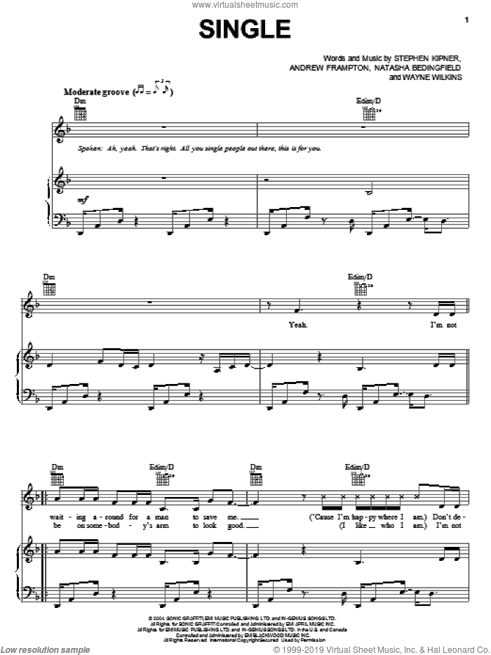 Single sheet music for voice, piano or guitar by Wayne Wilkins, Andrew Frampton, Natasha Bedingfield and Steve Kipner. Score Image Preview.